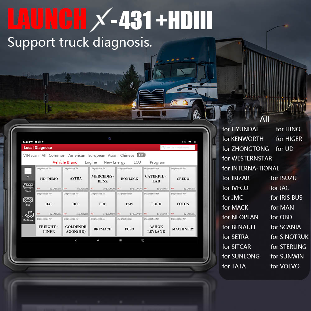 Launch X431 V+  HD3 Heavy Duty Diagnostic Adapter